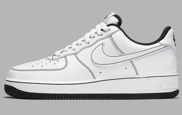 New Triple White Nike Air Force 1 Low Arrive with Black Contrast Stitching