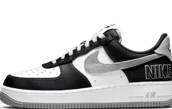 Nike CT2301-001 Air Force 1 EMB Black Silver for Online Sale